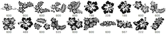 20种美丽的芙蓉花花纹、印花图案PS笔刷下载 花纹笔刷 芙蓉花笔刷 印花笔刷  flowers brushes