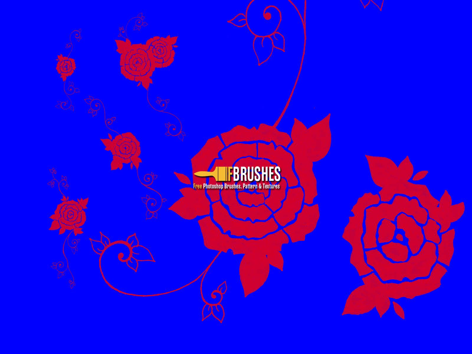 玫瑰花纹图案Photoshop印花笔刷下载 玫瑰花笔刷 植物花纹笔刷 印花笔刷  flowers brushes