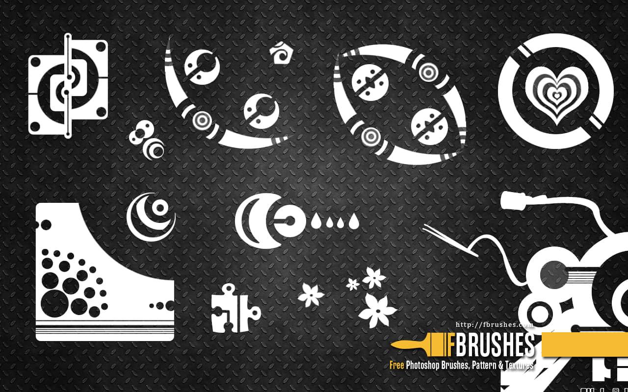 未来科技图案、时尚背景纹饰Photoshop笔刷下载 科技笔刷  symbols brushes