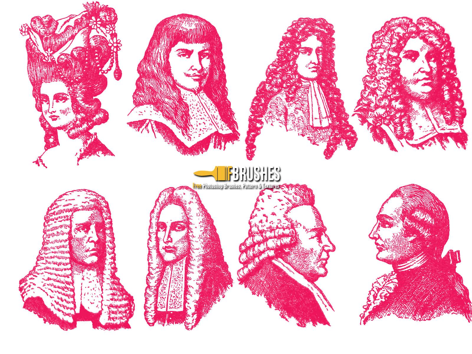 欧洲中世纪贵族假发人物造型PS笔刷素材下载 欧洲贵族笔刷  characters brushes