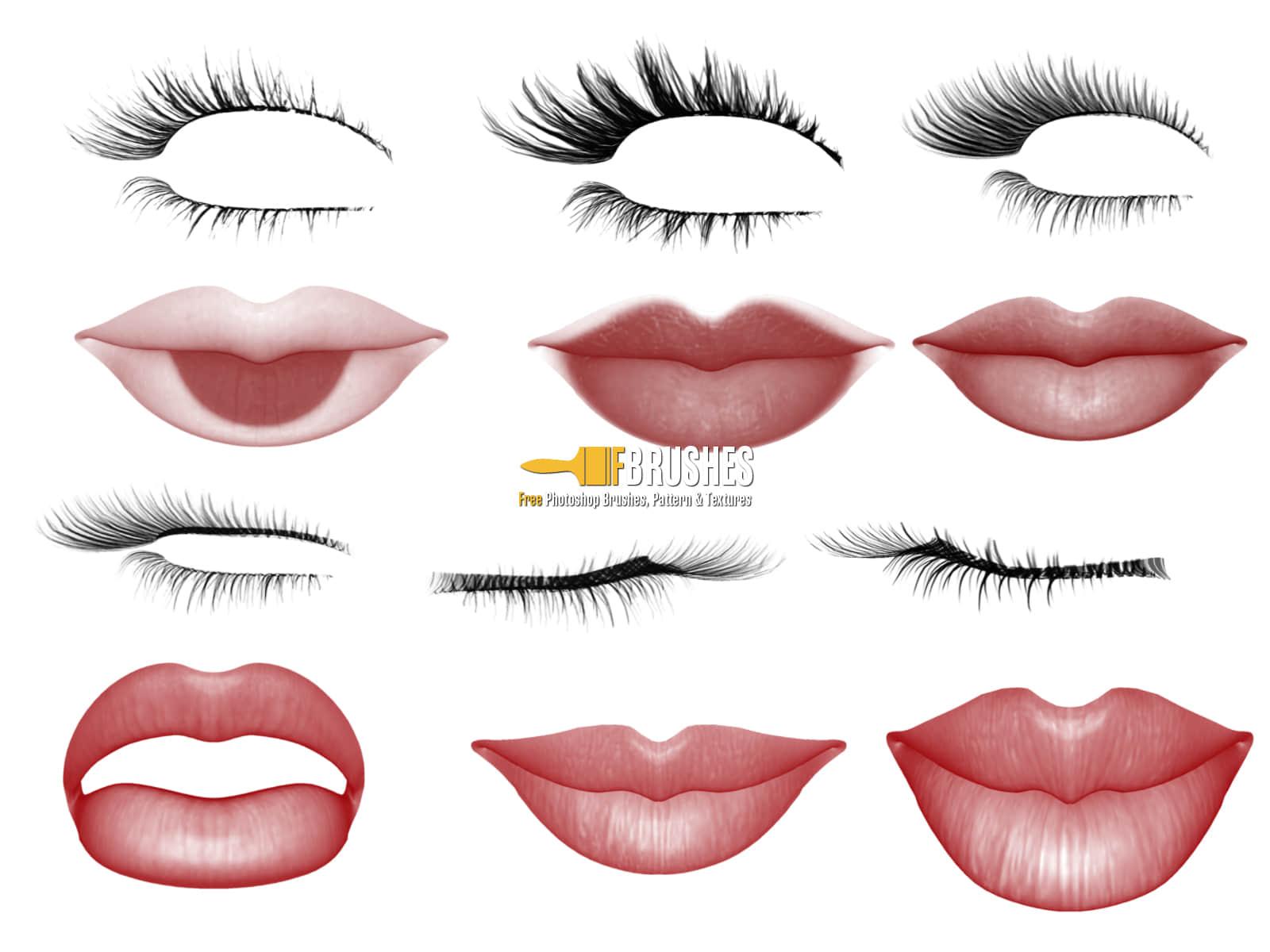 女性睫毛与性感红唇、嘴唇PS笔刷下载 红唇笔刷 睫毛笔刷 嘴唇笔刷  characters brushes