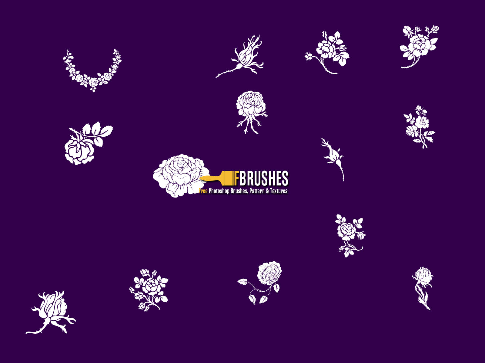 玫瑰花花纹、印花、植物花纹图案Photoshop笔刷下载 玫瑰花笔刷 植物花纹笔刷 印花笔刷  flowers brushes