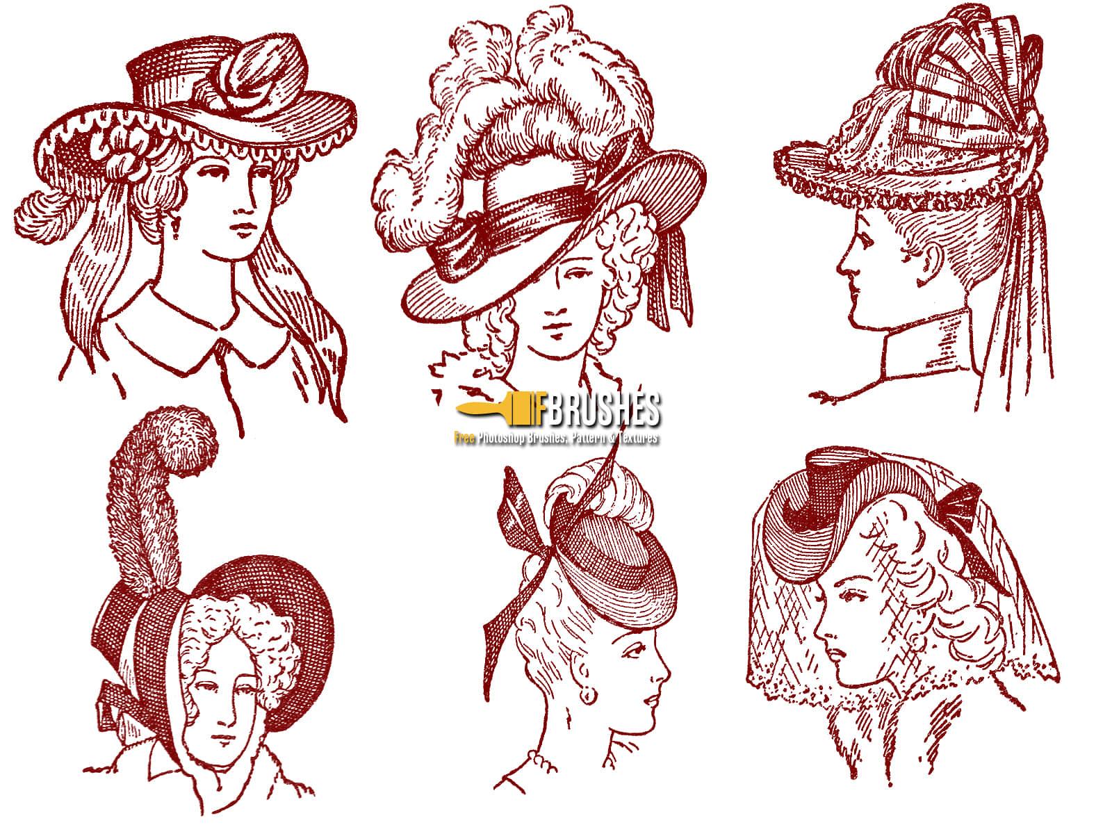 欧洲中世纪妇女头像版刻图案PS笔刷下载 妇女笔刷  characters brushes
