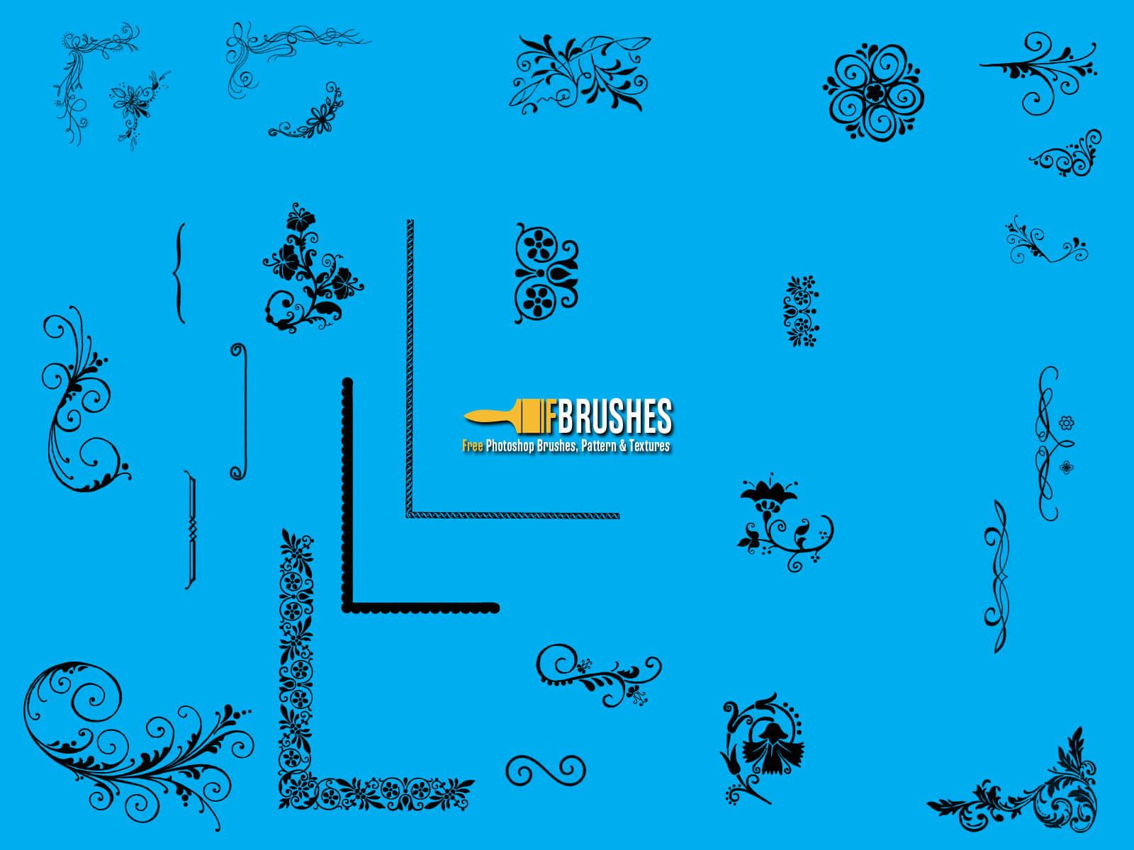 漂亮高贵的植物花纹边框、艺术花纹图案Photoshop笔刷素材 贵族花纹笔刷 植物花纹笔刷 印花笔刷  adornment brushes flowers brushes