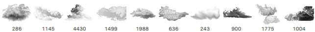 10个免费的天空云朵、云彩、白云Photoshop云笔刷下载 白云笔刷 云笔刷 云彩笔刷  cloud brushes
