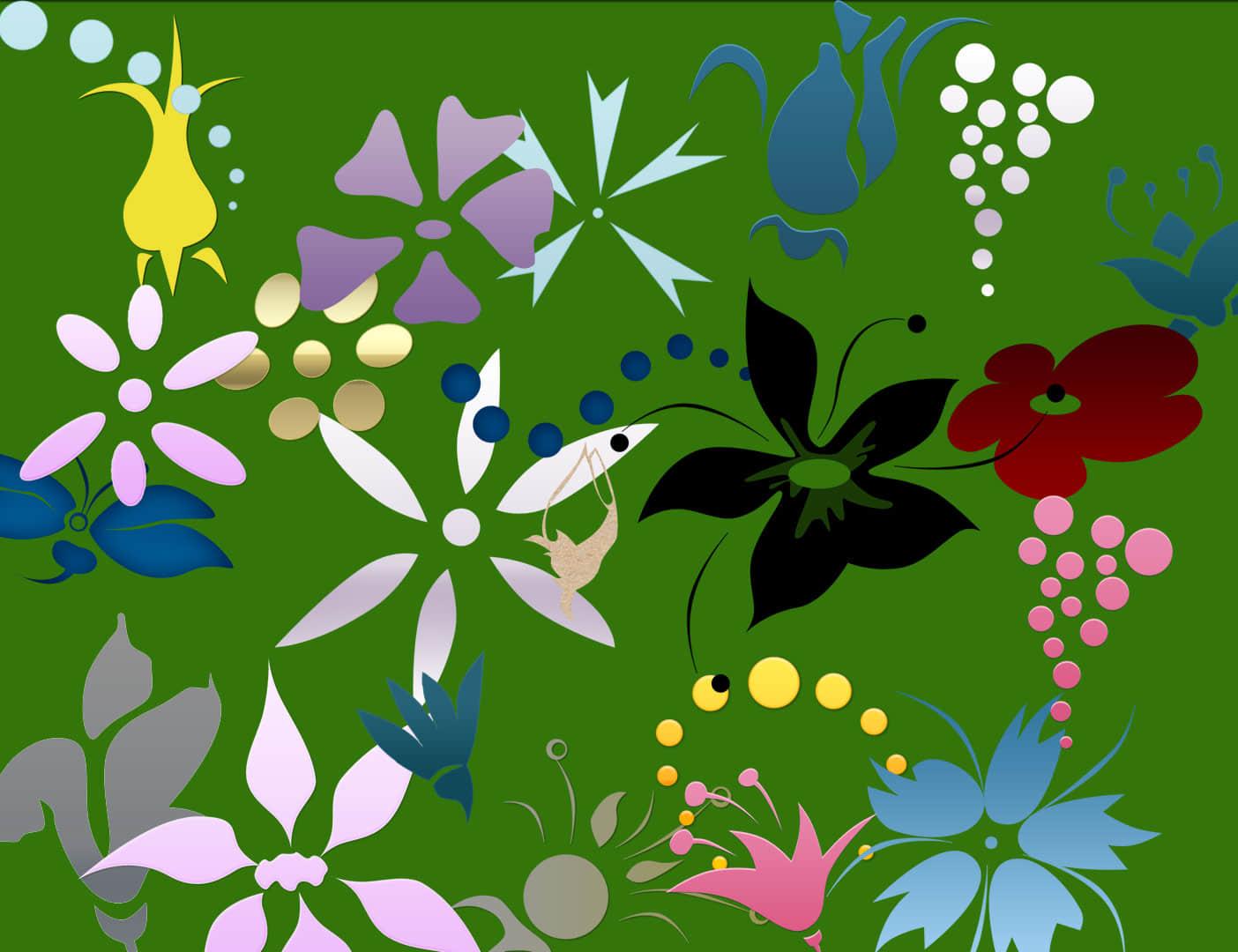 简单各式花纹图案Photoshop笔刷下载 鲜花图案笔刷 花纹笔刷  flowers brushes