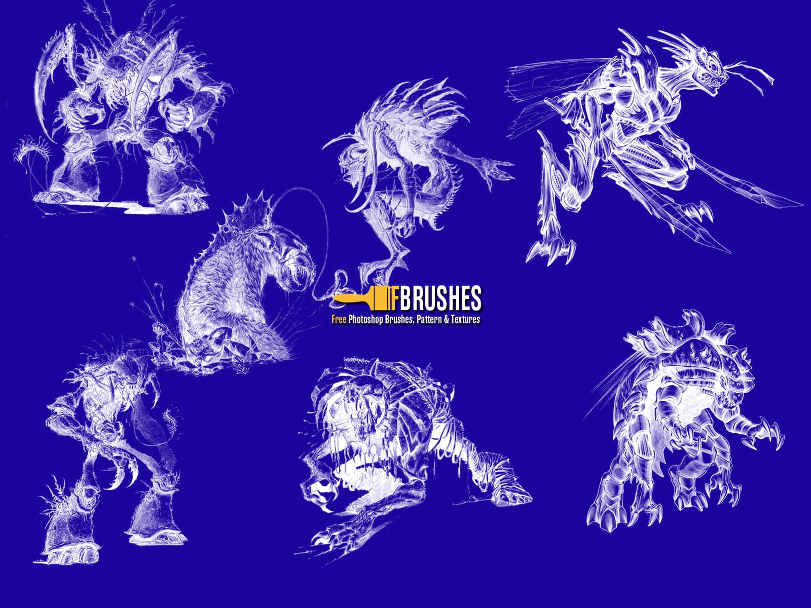 恐怖怪物图形、怪兽、魔兽Photoshop笔刷下载 魔兽笔刷 怪物笔刷 怪兽笔刷  other brushes