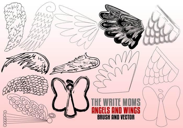 手绘式涂鸦羽毛翅膀、天使羽翼Photoshop笔刷下载 羽翼笔刷 天使翅膀笔刷 天使笔刷  wings brushes