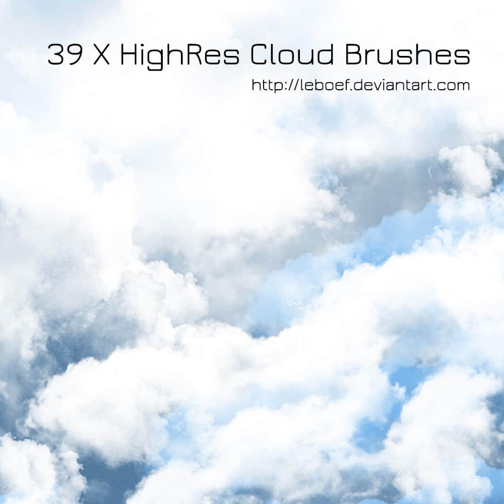 39种高清分辨率白云云朵、云层Photoshop笔刷下载 白云笔刷 云朵笔刷  cloud brushes