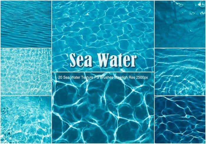 20海水纹理、水面波纹、波浪纹理Photoshop水效果笔刷 荡漾笔刷 波纹笔刷 水面笔刷 水波笔刷  water brushes