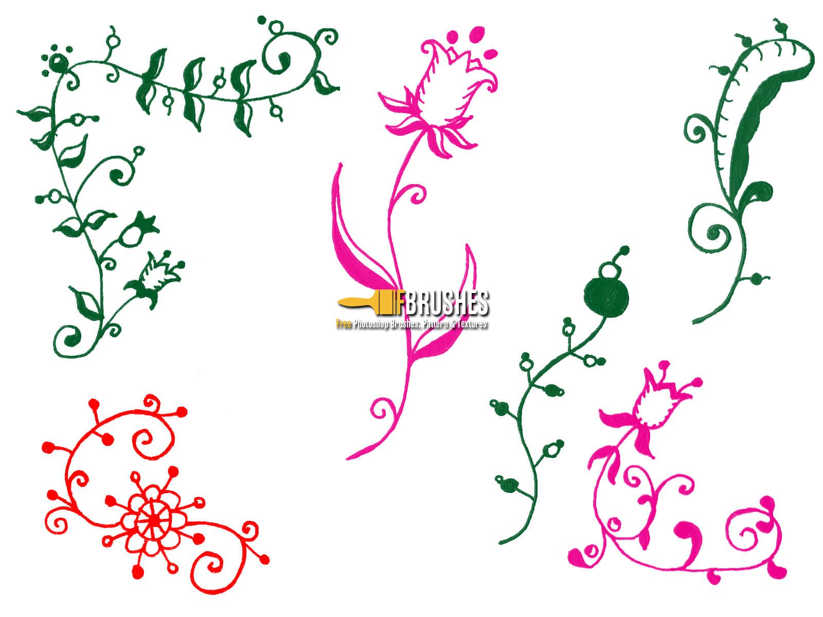 手绘涂鸦式植物花纹图案Photoshop笔刷下载 花纹笔刷 植物花纹笔刷 手绘花纹笔刷  flowers brushes
