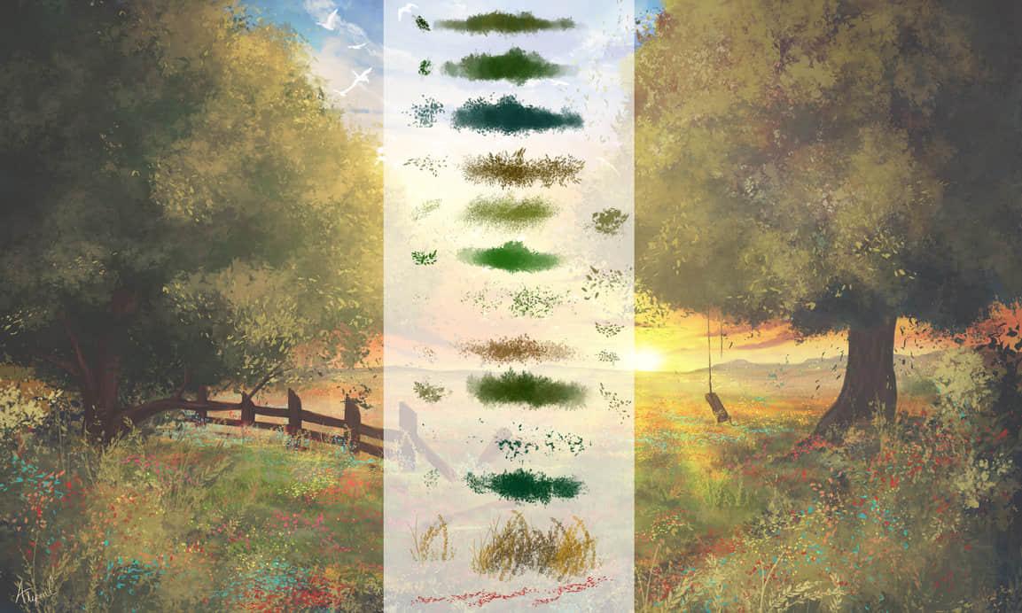 手绘式叶子、青草等植被笔触Photoshop绘画笔刷 绘画笔刷 油画笔刷 植被笔刷 CG笔刷  photoshop brush