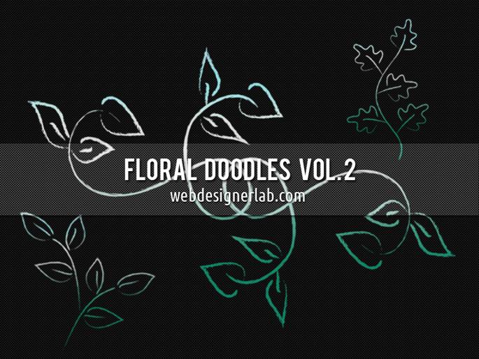 漂亮的手绘植物花纹图案Photoshop笔刷素材 植物花纹笔刷 手绘花纹笔刷 印花笔刷  flowers brushes