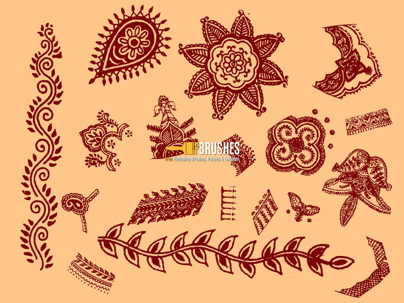 漂亮的佩斯利植物花纹Photoshop笔刷素材 植物花纹笔刷 佩斯利花纹笔刷 佩斯利笔刷  adornment brushes flowers brushes