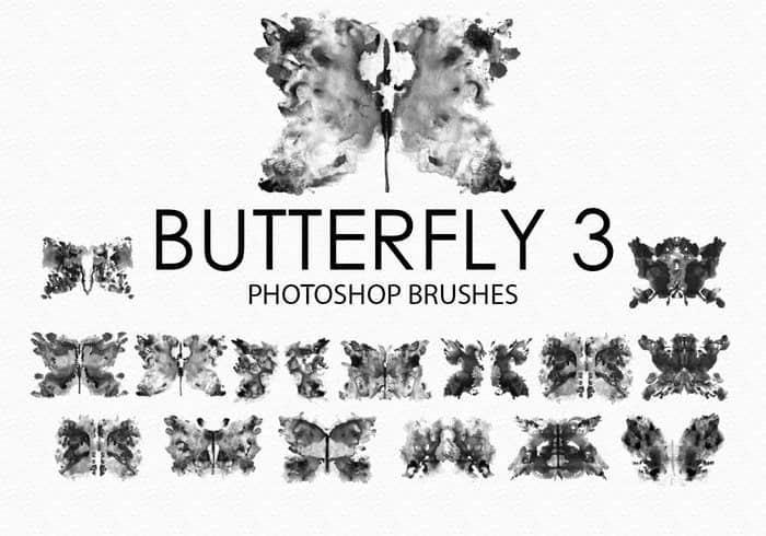 免费的水彩蝴蝶Photoshop笔刷 #.3 蝴蝶笔刷 水彩笔刷  insects brushes