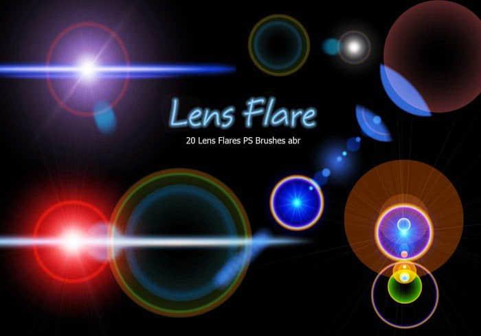 20种镜头耀斑、光晕特效Photoshop光影笔刷 耀斑笔刷 光晕笔刷  light brushes