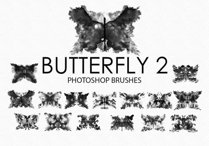 免费的水彩蝴蝶Photoshop笔刷 #.2 蝴蝶笔刷 水彩蝴蝶笔刷 水彩艺术笔刷  insects brushes