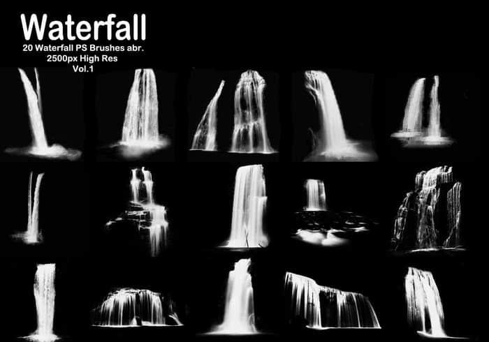 20种高清瀑布、落水效果Photoshop笔刷下载 瀑布笔刷  water brushes