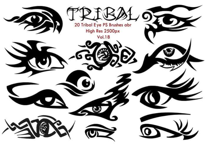 20种漂亮的眼睛纹饰、眼睛刺青纹身图案PS高清笔刷 纹饰笔刷 眼睛纹饰笔刷 刺青笔刷  adornment brushes