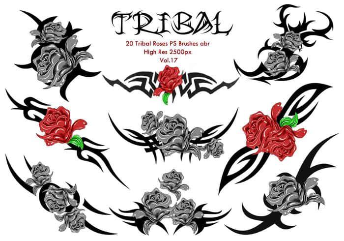 血色玫瑰花式纹饰、纹身图案PS笔刷下载 纹饰笔刷 纹身笔刷 玫瑰笔刷 刺青笔刷  flowers brushes