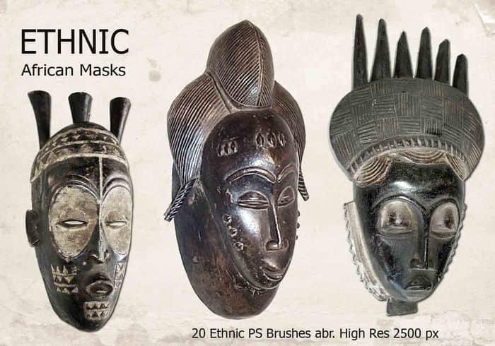 20种图腾、部落雕像素材Photoshop笔刷下载 雕像笔刷 图腾笔刷  characters brushes