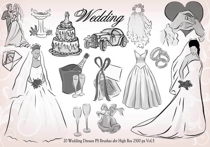 20种婚礼元素装扮图形PS笔刷下载 #.2 婚礼笔刷  adornment brushes