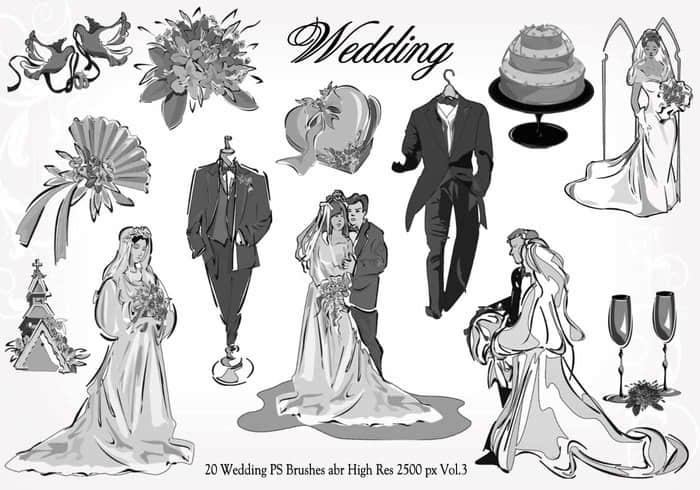 20种婚礼元素装扮图形PS笔刷下载 #.3 婚礼笔刷  adornment brushes love brushes