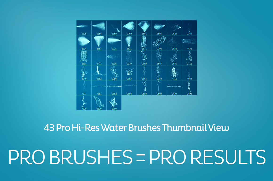 43种水花、喷水效果Photoshop笔刷下载(含CS5+CS6+CC版本) 水花笔刷  water brushes