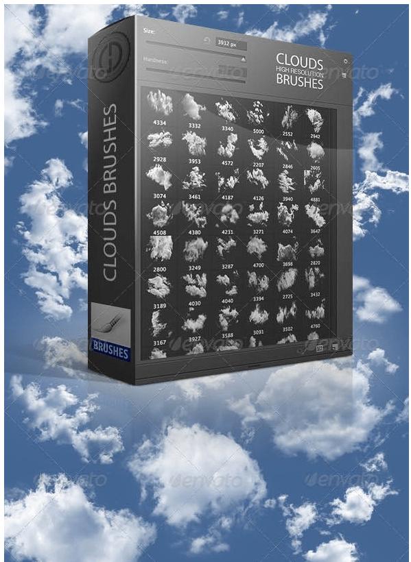 超高品质白云、高空云朵、云层效果Photoshop云彩笔刷 白云笔刷 云朵笔刷 云彩笔刷  cloud brushes