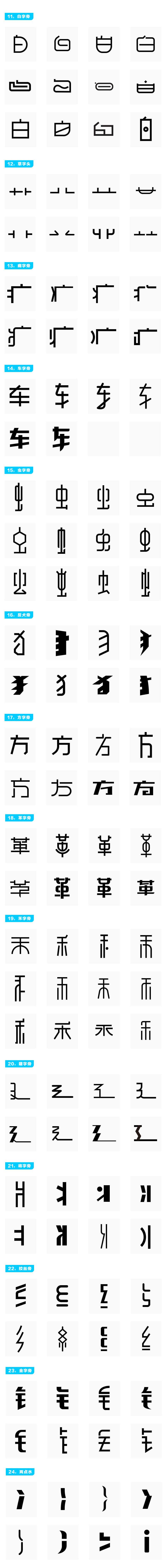 中文字体创作:常用偏旁部首设计范例之参考 设计范例 设计参考 字体设计 中文字形设计  ruanjian jiaocheng
