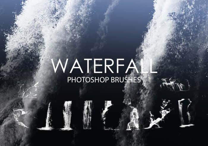 15个高质量的瀑布水流PS笔刷下载 瀑布笔刷  water brushes