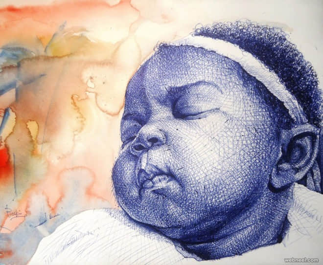 来自非洲艺术家ENAM Bosokah的超真实圆珠笔人物绘画 圆珠笔绘画  crazy ideas