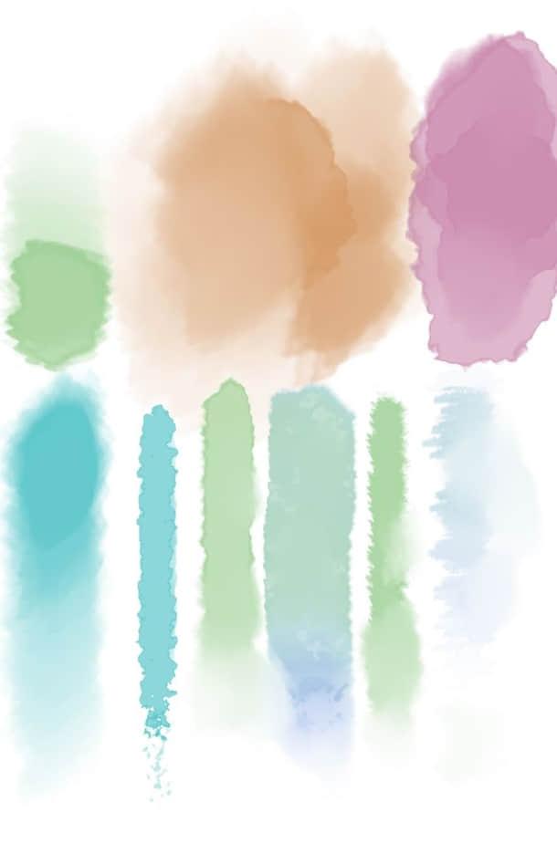 高清水彩笔刷包Photoshop素材下载 水彩笔刷  photoshop brush