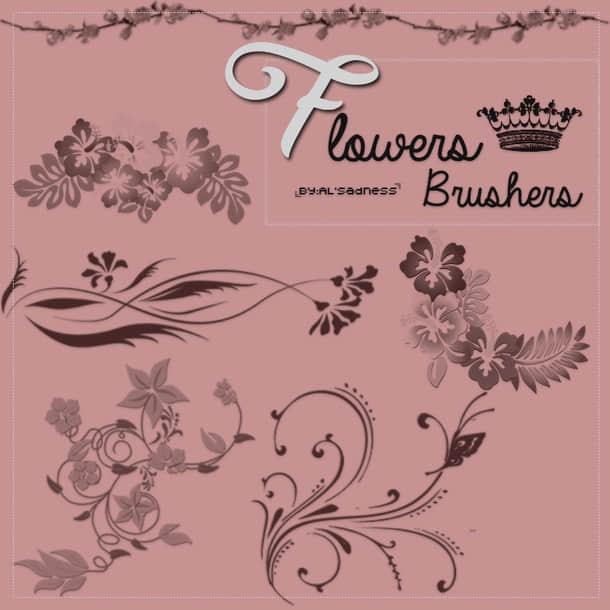 鲜花印花图案、植物花纹装饰Photoshop笔刷下载 植物花纹笔刷 印花笔刷  adornment brushes flowers brushes