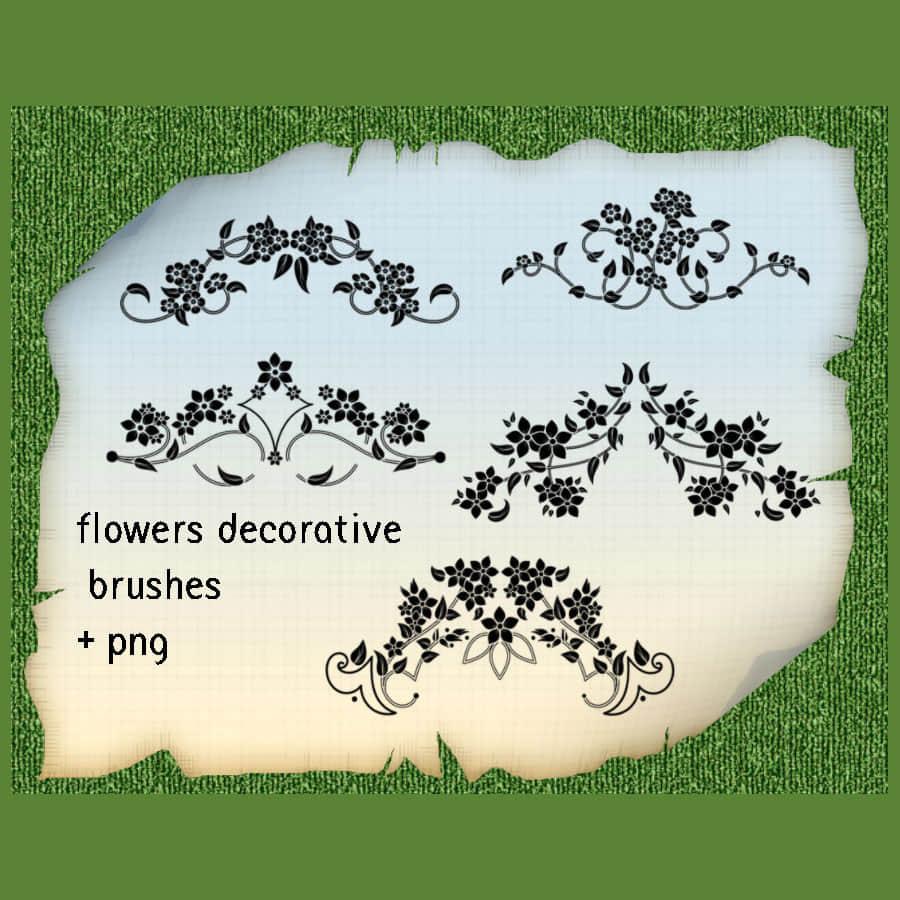 5种漂亮的优雅艺术植物花纹图案PS笔刷素材下载 艺术花纹笔刷 植物花纹笔刷  adornment brushes flowers brushes