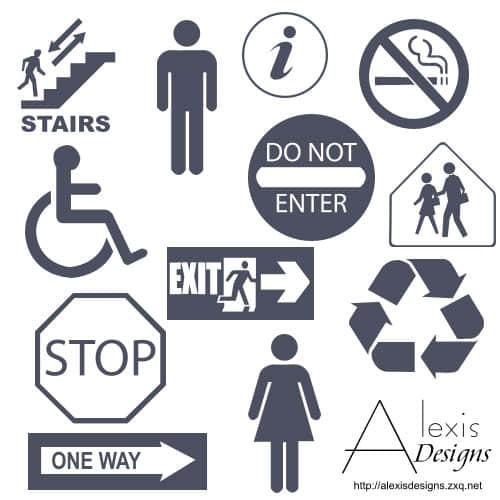 常用公共标志图形Photoshop自定义形状素材下载 公共标志笔刷 PS自定义形状素材  symbols brushes