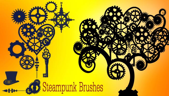 钢铁齿轮艺术花纹图案Photoshop笔刷素材下载 齿轮笔刷  flowers brushes