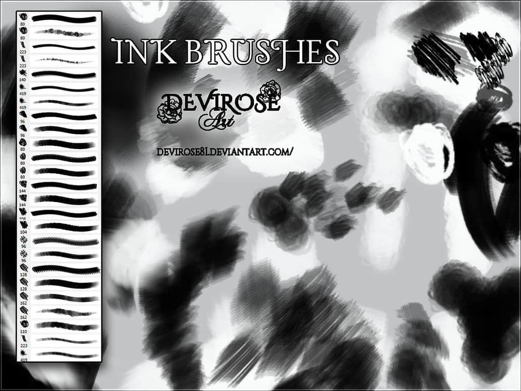 油墨涂痕、毛刷痕迹Photoshop笔刷素材 油墨笔刷 毛刷涂痕笔刷  photoshop brush