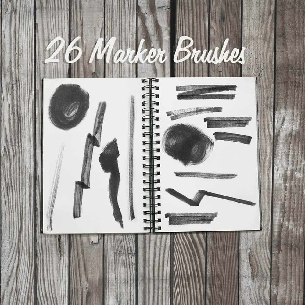 26种马克笔、记号笔笔触划痕Photoshop笔刷素材 马克笔笔刷 记号笔笔刷  photoshop brush