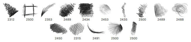 15种铅笔、蜡笔涂痕效果笔触PS笔刷 铅笔笔刷 蜡笔笔刷  photoshop brush