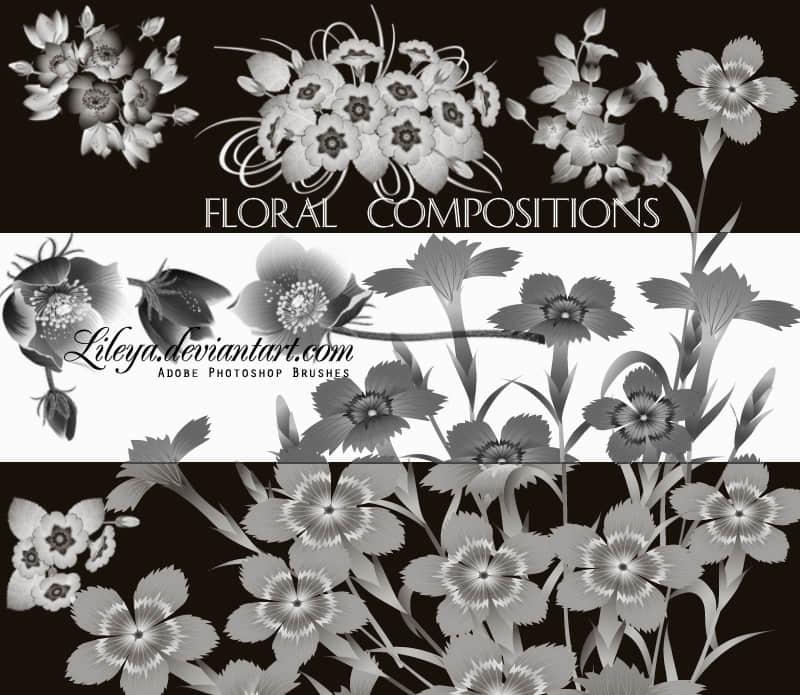鲜花、花束图案PS笔刷下载 鲜花笔刷 花朵笔刷  flowers brushes