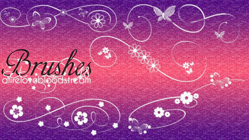 漂亮的蝴蝶、鲜花花纹图案PS装饰笔刷 鲜花花纹笔刷 蝴蝶花纹笔刷 藤蔓花纹笔刷 艺术花纹笔刷 植物花纹笔刷  flowers brushes