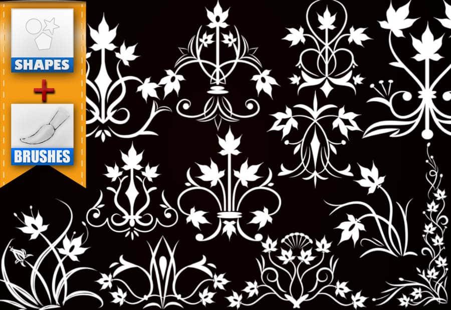 漂亮精美的植物花卉图案Photoshop印花笔刷 植物花纹笔刷 印花笔刷  adornment brushes