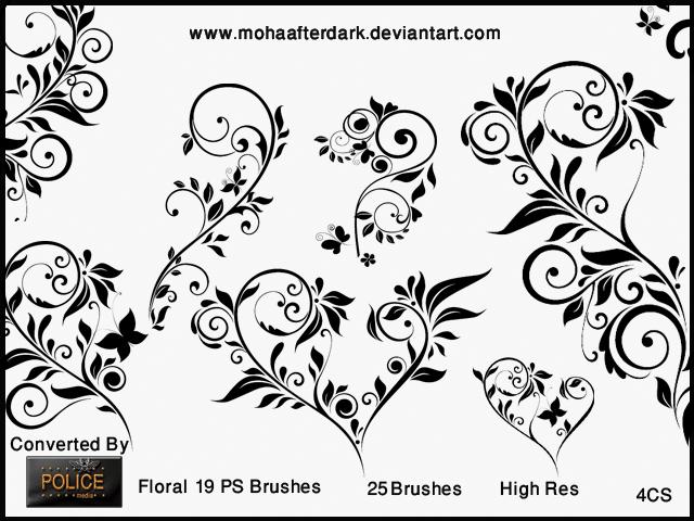 优美典雅的植物茎叶花纹图案PS印花笔刷 茎叶花纹笔刷 植物花纹笔刷 印花笔刷  flowers brushes