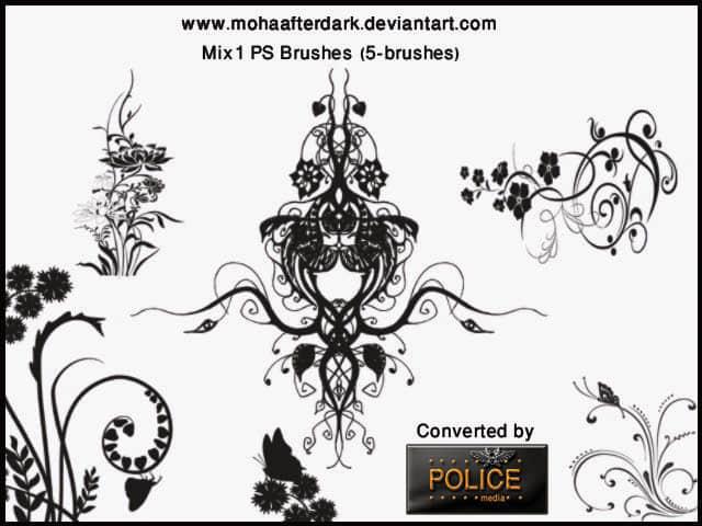 漂亮的植物艺术系花纹图案素材PS印花笔刷 艺术花纹笔刷 植物花纹笔刷 印花笔刷  flowers brushes