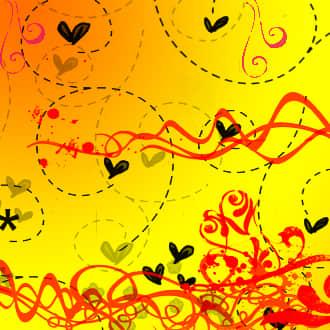手绘涂鸦爱心与线条装饰物PS笔刷素材 童趣涂鸦笔刷 手绘爱心闭上  adornment brushes
