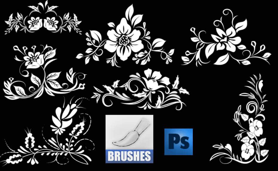 秀美的花朵花纹印花图案Photoshop笔刷免费下载 植物花纹笔刷 印花笔刷  light brushes