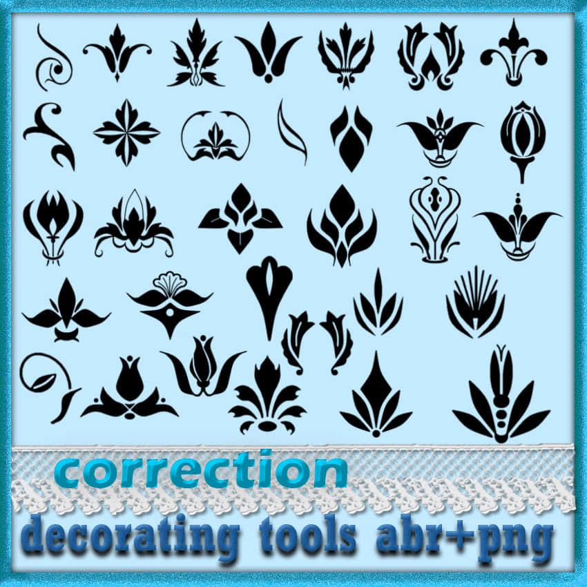 漂亮的欧式印花图案Photoshop花纹笔刷 植物花纹笔刷 印花笔刷  flowers brushes