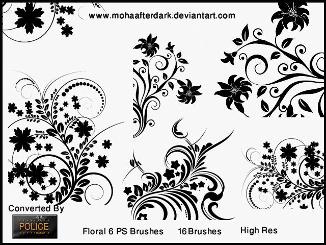 漂亮秀美的植物印花艺术图案Photoshop笔刷素材 艺术印花笔刷 植物花纹笔刷 印花笔刷  flowers brushes