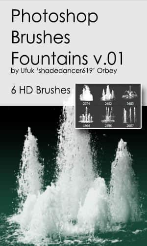 水柱、水浪、喷涌的水泉效果PS水笔刷 水柱笔刷  water brushes